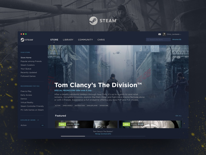 Steam Redesign website ux thedivision visual redesign app games design photoshop figma ui
