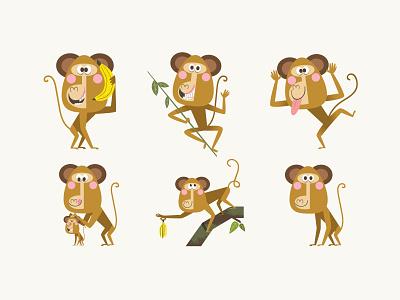 Monkey design for stickers pack humor digital art art character design design vector monkeys adobeillustrator illustration design illustrator digitalart artdesign illustration characterdesign monkey