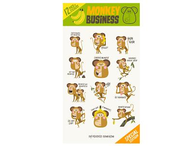 Monkey Business stickers pack character design stickers stickerpack illustrator digital art art humor design vector illustration monkey characters characterdesign