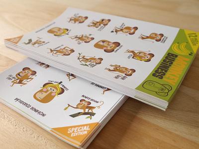 MONKEY BUSINESS STICKERS sticker design stickers characterdesign illustrator digital art art humor design vector character design illustration monkey