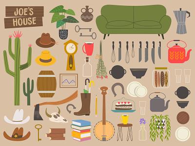 Joe's house furniture illustrator childrens book art digital art design character design vector illustration western cowboy tools furniture