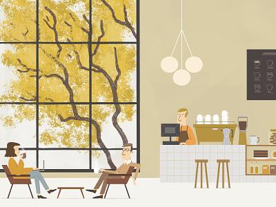 Autumn in Buenos Aires concept interior architecture design illustration art coffee cup character design nature art window digitalart illustration otoño autumn cafe coffeeshop coffee