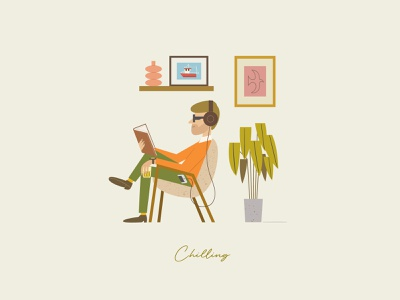 Chilling digital art vector character design characterdesign digitalart plants listeningmusic relaxing whisky reading music livingroom artprint illustration bodystudy