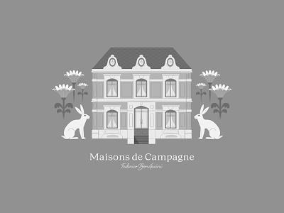 MAISONS DE CAMPAGNE vector digital art stylish romantic adobe series artprint design blackandwhite illustration home plants flowers rabbit animal house maison