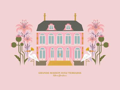 Grande Maison Avec Terrasse romantic illustrator design artprint postcard female stylish flowers plants animals birds pink vector illustration housedesign house maison