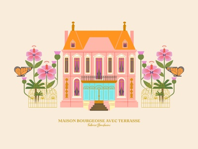 Maison Bourgeoise avec Terrasse design vector butterfly butterflies stylish pink illustration artprint botanical flowers plants house maison