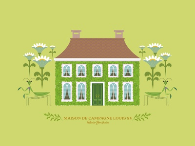 Maison de Campagne Louis XV insects mansion houses artdirection design art print stylish green insect mantis flowers plants illustration maison house