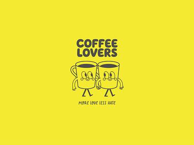 COFFEE LOVERS ♥ branding brand logo design illustration cup of coffee lovers coffeelovers san valentin couple feliz happy love cafe character design yellow coffeeillustration coffeedesign coffeecharacter coffee