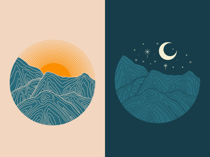 Day & Night outdoors moon sunset mountains nature topographic