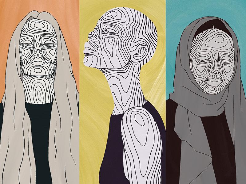 Topographic Ladies ethnic topography topographic illustration portrait women portraiture