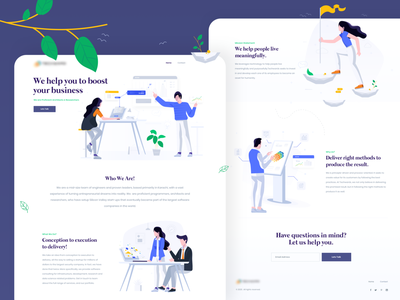 Website / Landing page for a software consultant firm firm consultant engineer software leaves plant illustration landing startup tech website