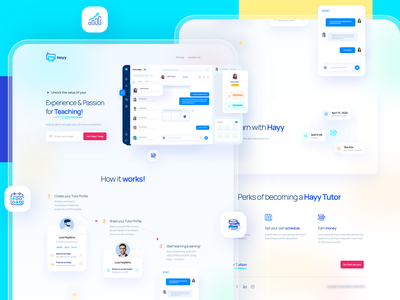 Landing page for private tuition platform avatar messenger app tutor web app ui ux saas landing messenger tuition
