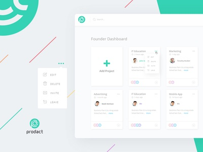 Founder Dashboard of Prodact - SaaS App