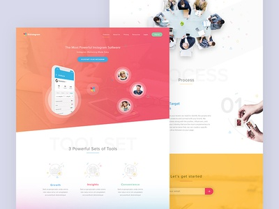 Website for SaaS provider specializing in instagram content playful fun website ux ui saas followers instagram