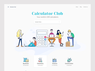 Landing Page - Calculator Club landing business ux ui website illustration calculator
