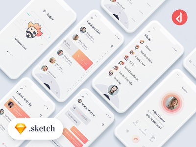 D-Caller - Free Mobile UI Kit .sketch ui sketch profile sms mobile ios freebie free phone true caller android caller id