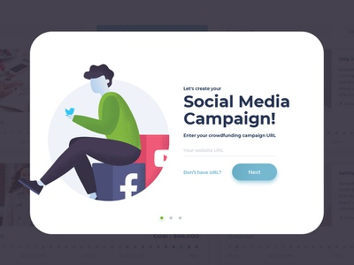 Social Media Storytelling Application Overlay ui ux vector clean design website campaign crowdfunding app saas social media popup overlay illustration story