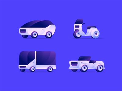 Cars Collection exploration character symbol vector gradient illustration icon design