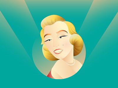 Marilyn Monroe fanart character vector illustration icon design