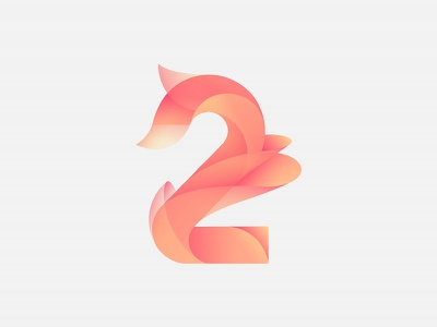 Two number illustrator gradient exploration design color