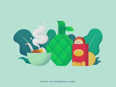 Happy Eid Mubarak 1440H eidmubarak exploration character icon illustration design