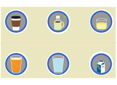 With Drinks icons vector badges