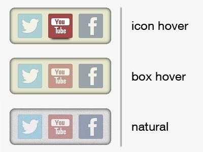 Social Box css interface ui ux social hover
