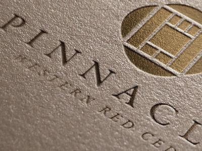 Pinnacle brand pinnacle branding logo identity lumber wood