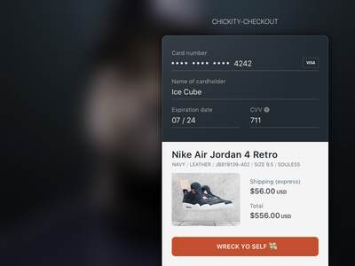Daily UI Challenge #002 - Chickity-checkout mobile payment dailyui ice cube commerce checkout challenge ui daily