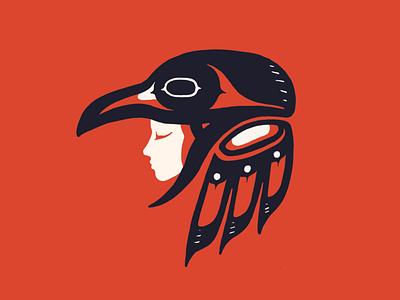 Woman consumed by Raven salish native indigenous digital art raven illustration