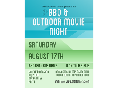 Strata Bbq Poster gree blue movie night poster
