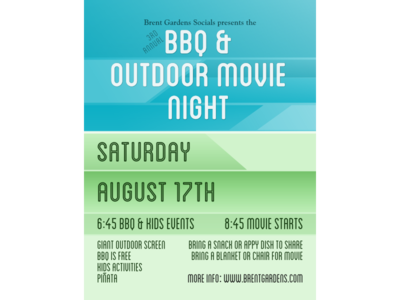 Strata Bbq Poster gree blue movie night poster