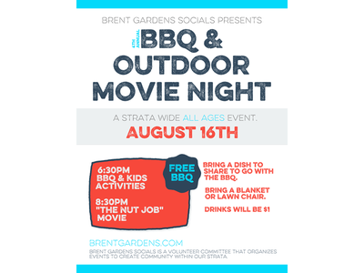 Strata Bbq Poster 2014 Final poster teal coral bbq strata movie night
