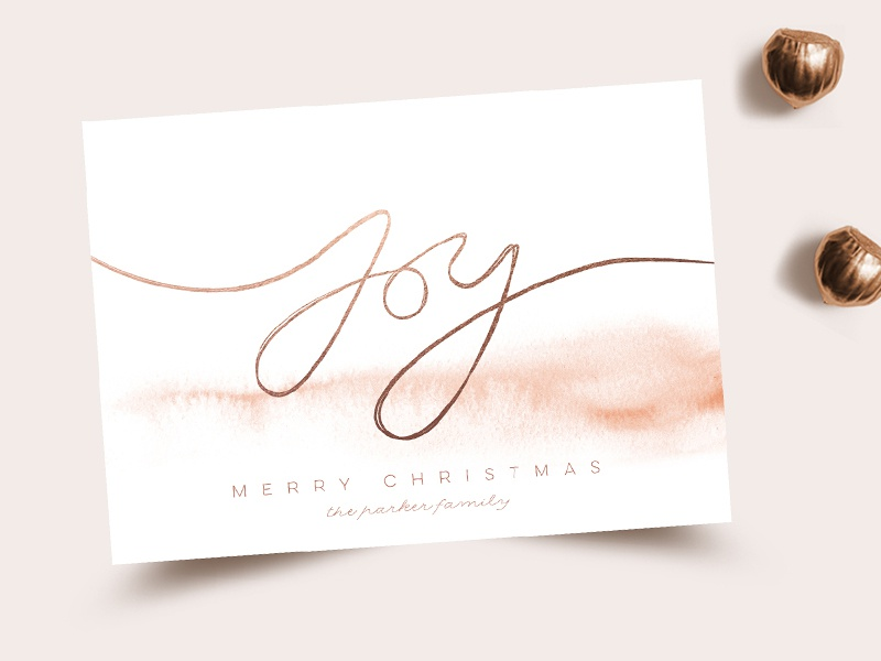 Elegant Joy minted stationery card holidays hand-lettering belia simm joy christmas watercolor
