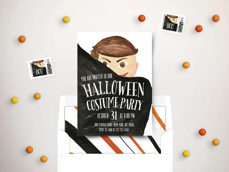 Little Cute Vampire stationery minted belia simm vampire illustration watercolor invitation invite costume party card halloween