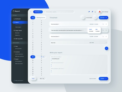 Concept for Working time management app