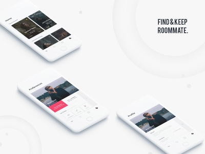 Roommate App budget connect find filter slider home preferences categories profile ui mumbai roommate