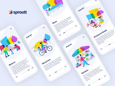 sproutt onboarding insurtech insurance app product design mobile israel tel aviv logo ux ui vector art illustration brandidentity branding