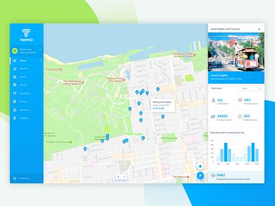 Traffico Dashboard user interface webapplication webapp web admin geographic map ui dashboard logo interface app ux ui
