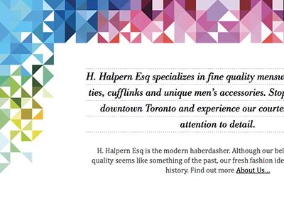 H Halpern Esq about section front-end development graphic design interactive design responsive design responsive layout fluid layout liquid online store shopify theme