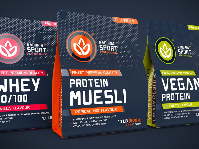 Naduria Sport ™ / 3D Modeling, Label design for Supplement Range shake food and drink protein texturing 3d art magenta lime blue carbon supplement labeldesign package sport