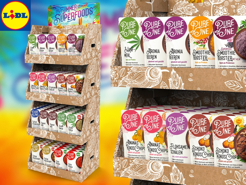 Pure One ™ / 3D Prototype of Product Display for LIDL Market natural logo design powder campaign design prototype package design germany marketplace brand design one pure vegetables fruits modeling superfoods printmaking creative design carton display 3d art