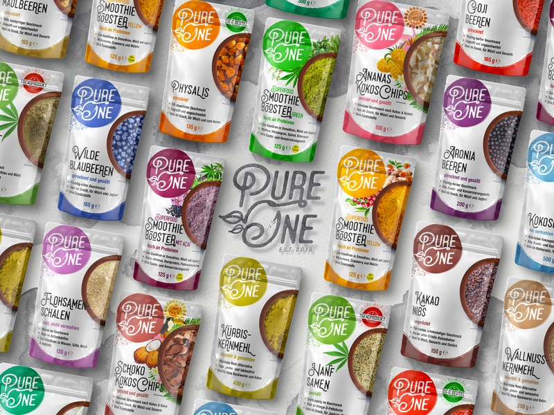 Pure One ™ / Product Range Package Prototype, Market Campaign typography breakfast vegetables fruits rendering top view rainbow colors circle logo health care food and drink superfoods natural marketing campaign one pure logotype design label packaging product design package design 3d art