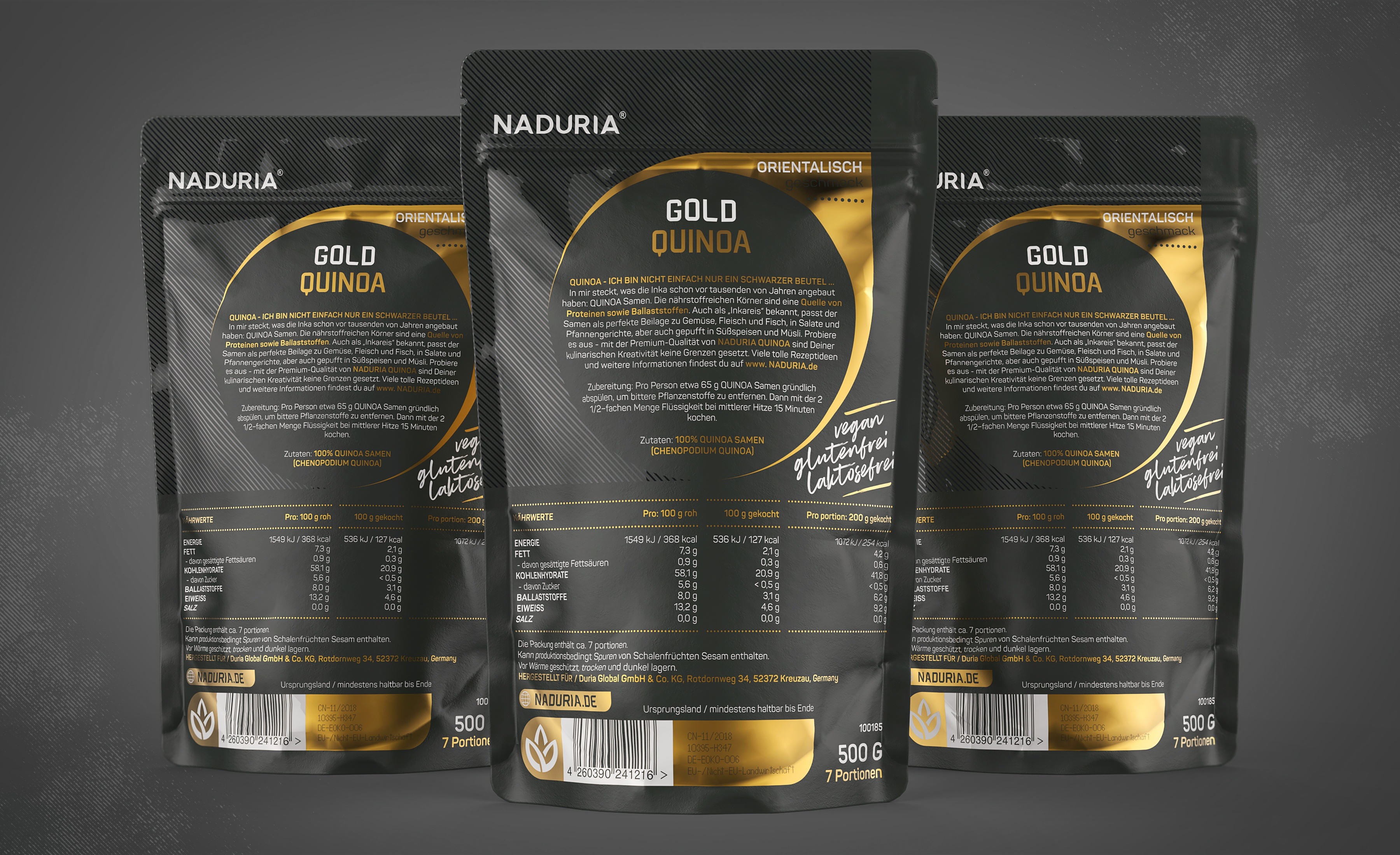 Naduria     quinoa gold   stand up pouch 500g   prototype concept v.1.2