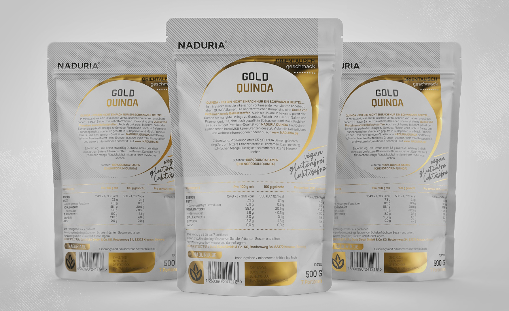 Naduria     quinoa gold   stand up pouch 500g   prototype concept v.2.2