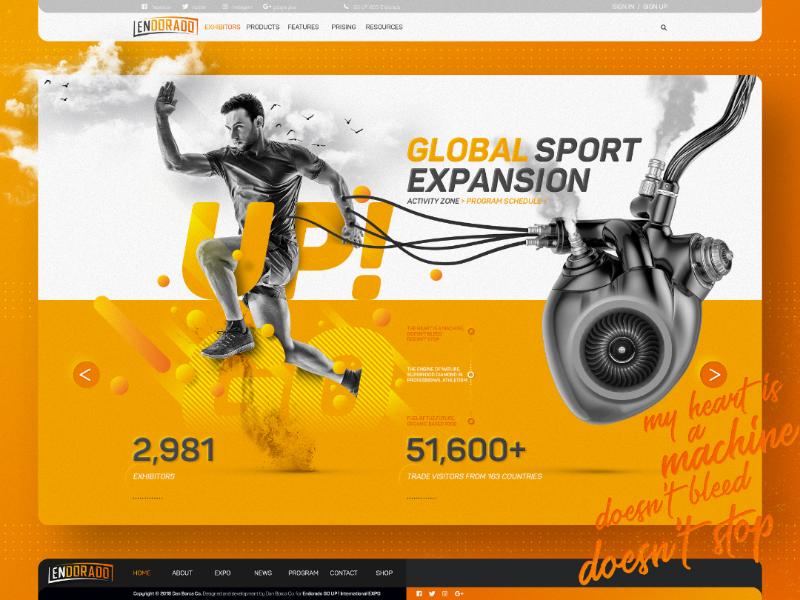 ENDORADO™ / Home Page Design Prototype Sketch creative web sketch website vector typography texture photoshop orange mobile logo ios illustrator flat design clean concept branding art app 3d