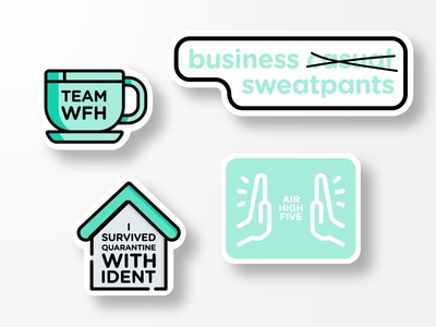 WFH Stickers icon vector illustration print typography wfh stickers