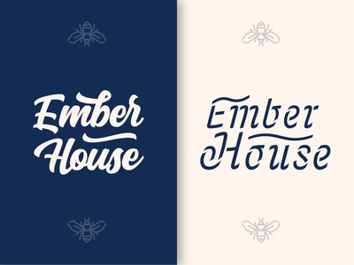 Ember House Exploration bee icon illustration type print logo design typography