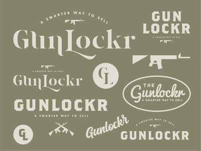 Gunlockr badge backroundcheck type vector lettering branding illustration typography logo