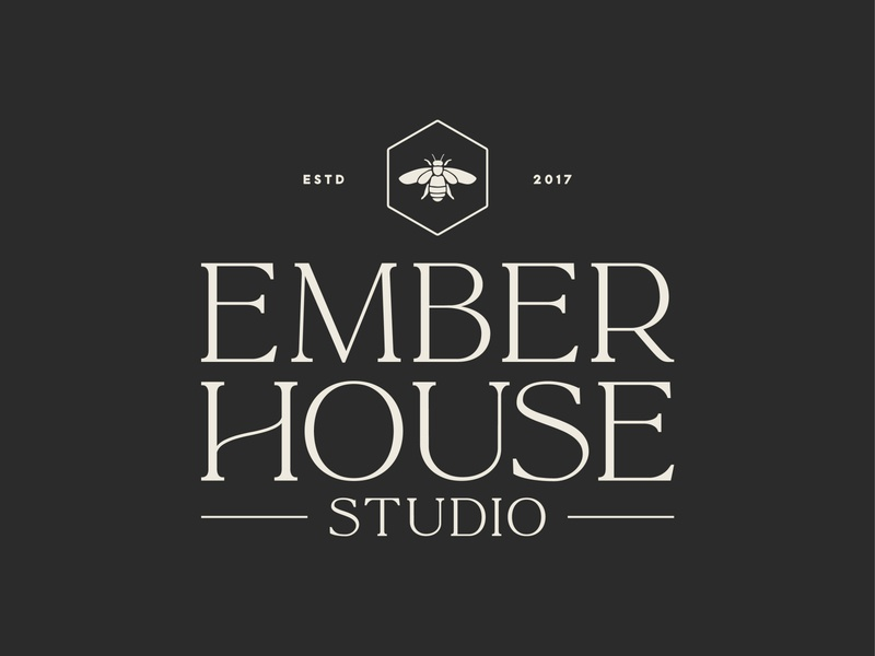 Ember House Final bee icon branding illustration print logo design typography